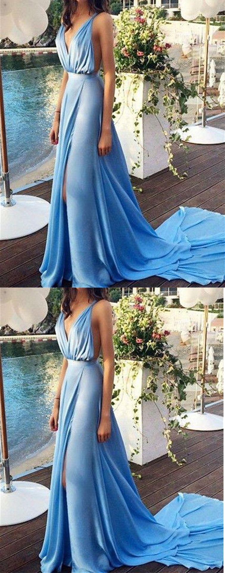 Blue Prom Dresses,Chiffon Evening Dress,Long Prom Gowns,V-Neck Prom ...
