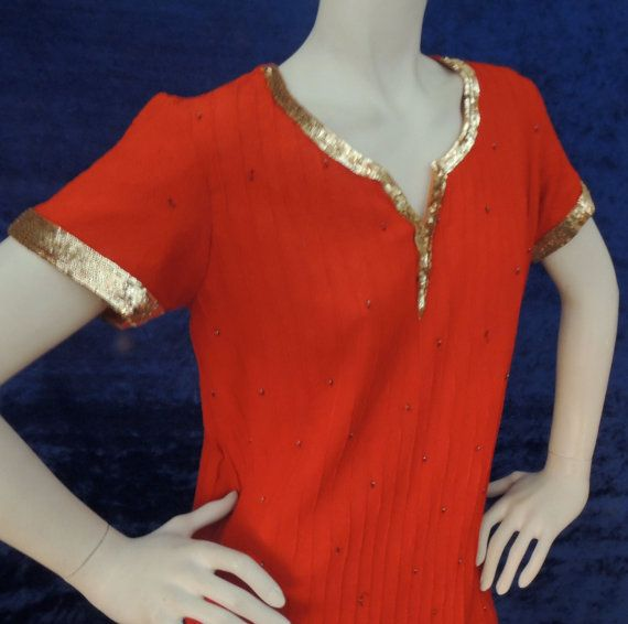 Vintage Red Crepe Tunic/ Gold Sequins Beads Side by AddOneVintage