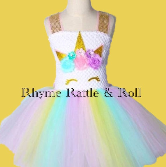 Kids Girls Unicorn Rainbow Tutu Dress Princess Party Birthday Cosplay Costume