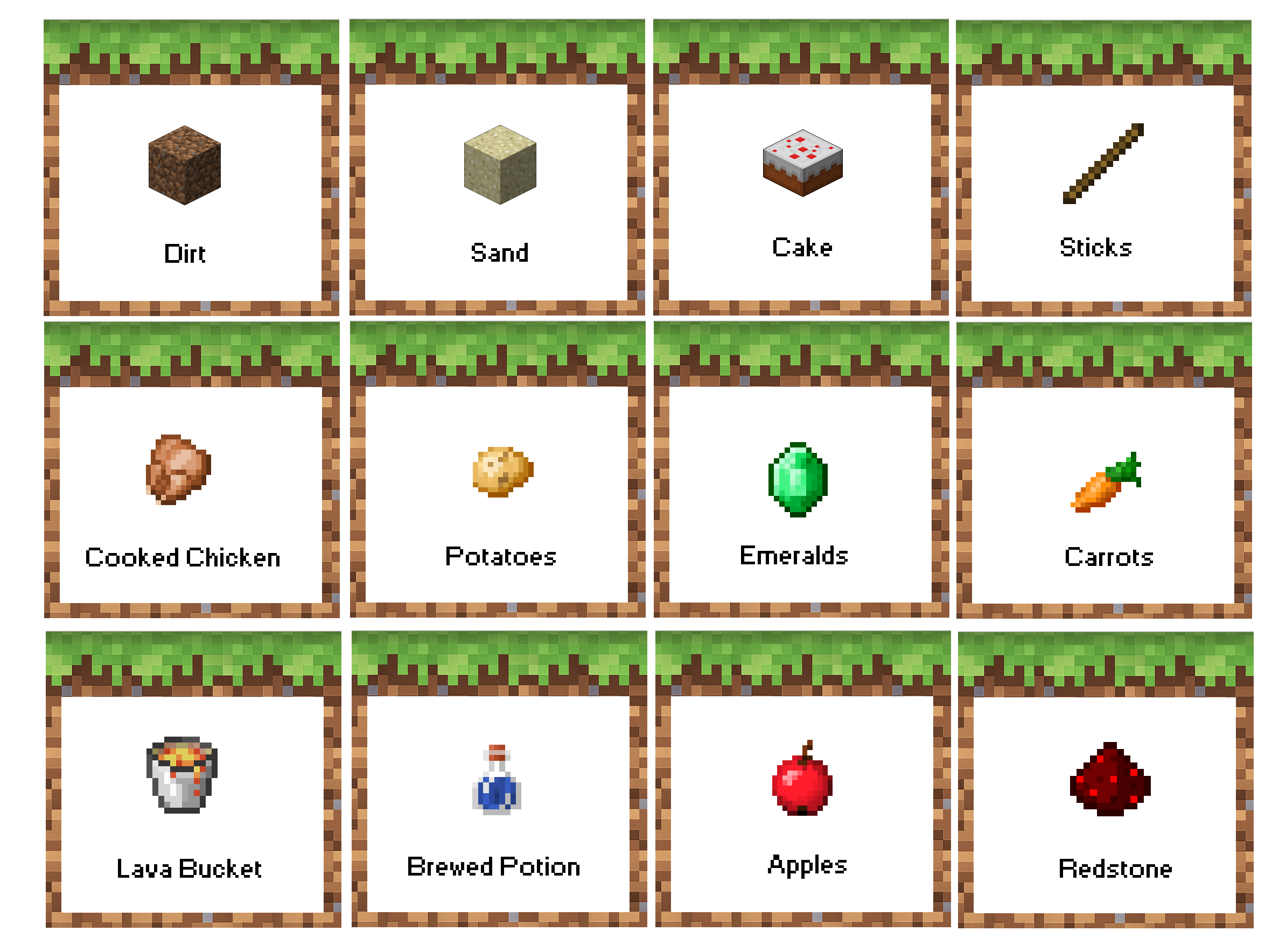 Minecraft Birthday Party Food Labels Free Printable Now With Apples Instead Of Melon Menu