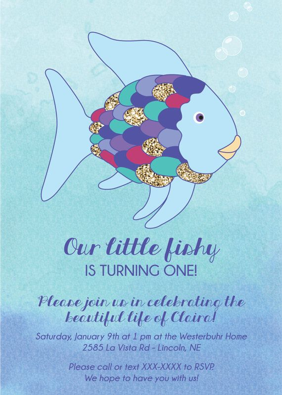 Rainbow Fish Invite Digital File 6th Birthday Parties Ideas First