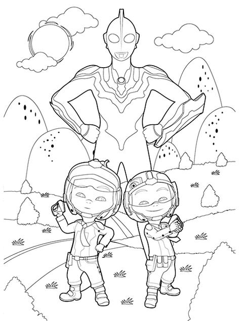 Cute Upin And Ipin Ultraman Coloring Page Buku Mewarnai Gambar