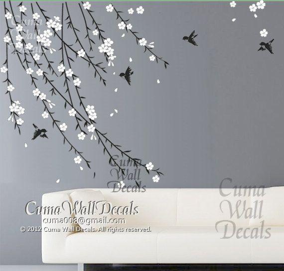 Cherry Blossom Birds Nursery Wall Decals Tree Vinyl Wall Decals - Custom vinyl wall decals cherry blossom tree