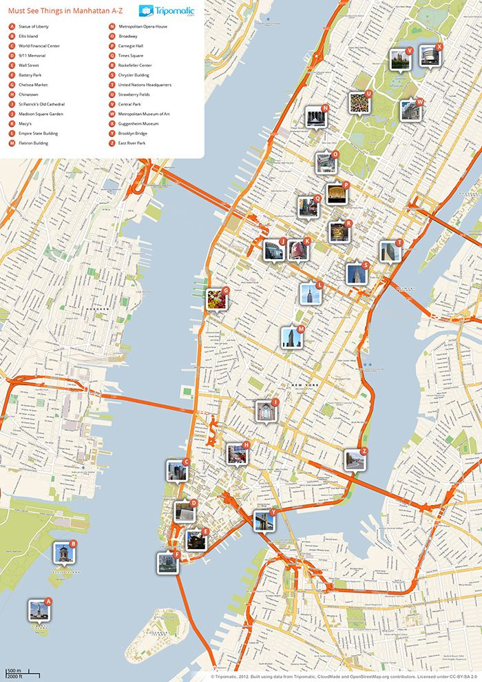 Download A Printable Tourist Map Of New Yorks Manhattan Top Sights: Manhattan Printable Map At Slyspyder.com