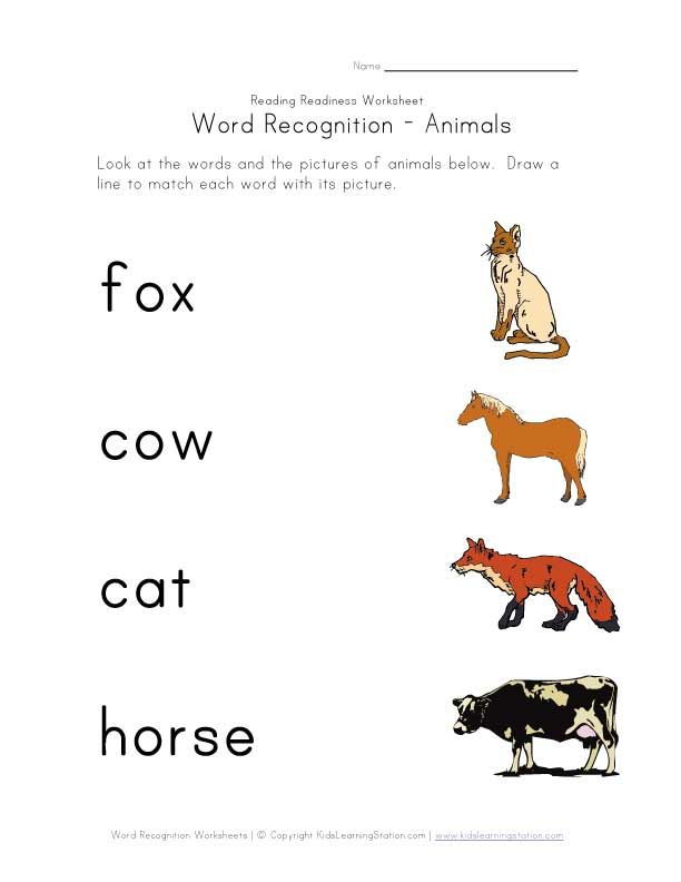 Word Recognition Worksheets Kids Learning Station Word Recognition Phonics Words Homeschool Preschool Animals worksheets word pic matching