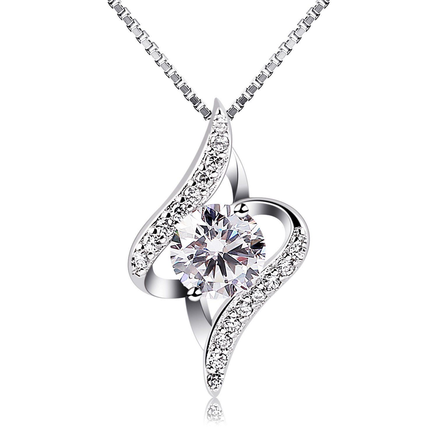B.Catcher Necklaces for Women, Silver Necklace 925 Sterling Pendant, Flower Necklace Jewellery, 18inch Box Chain
