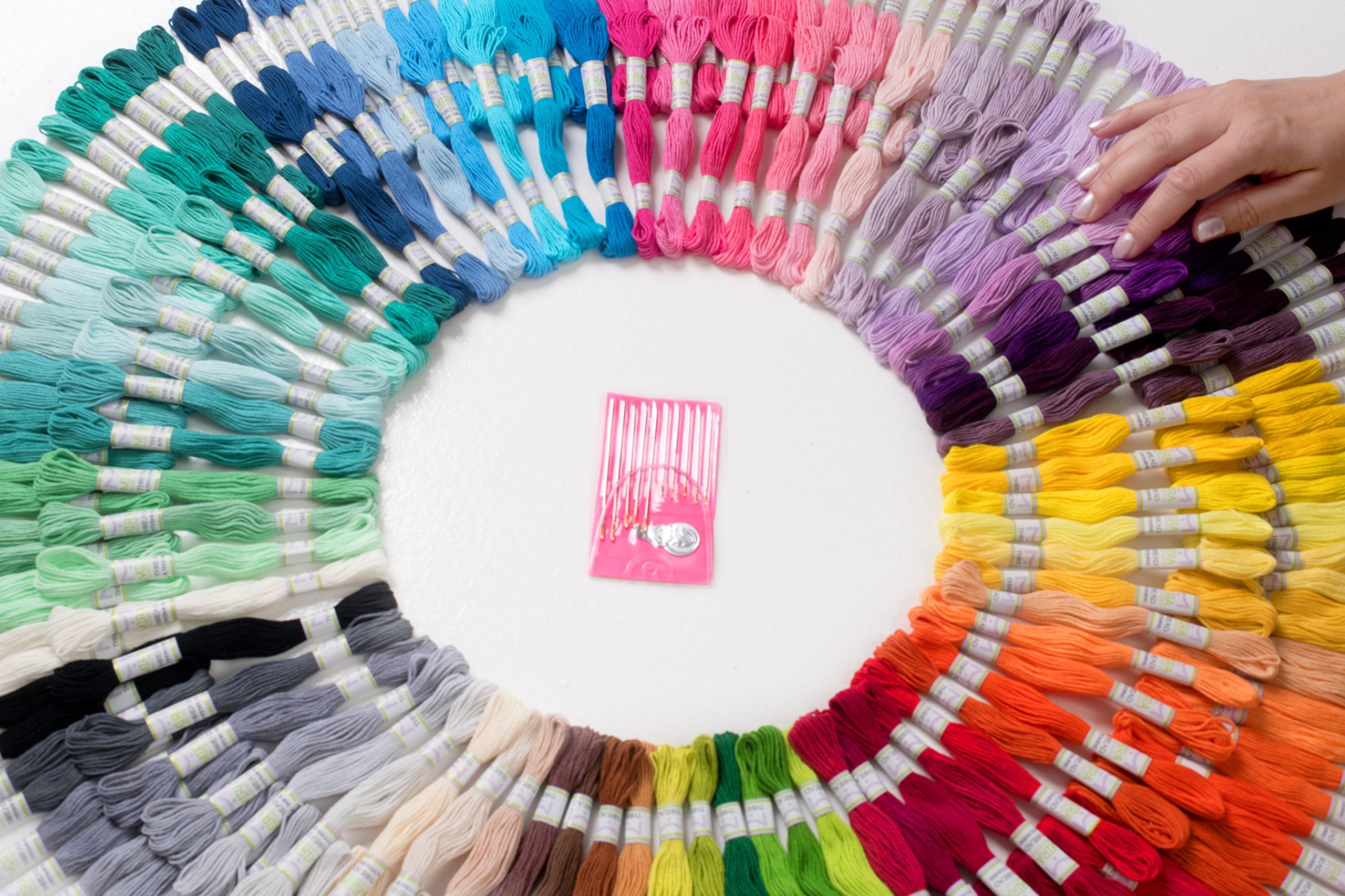 DMC Floss Colors Mira HandCrafts 210 Embroidery Floss Skeins Sewing Thread Mega Floss Pack Friendship Bracelet String Free Set of Embroidery Needles