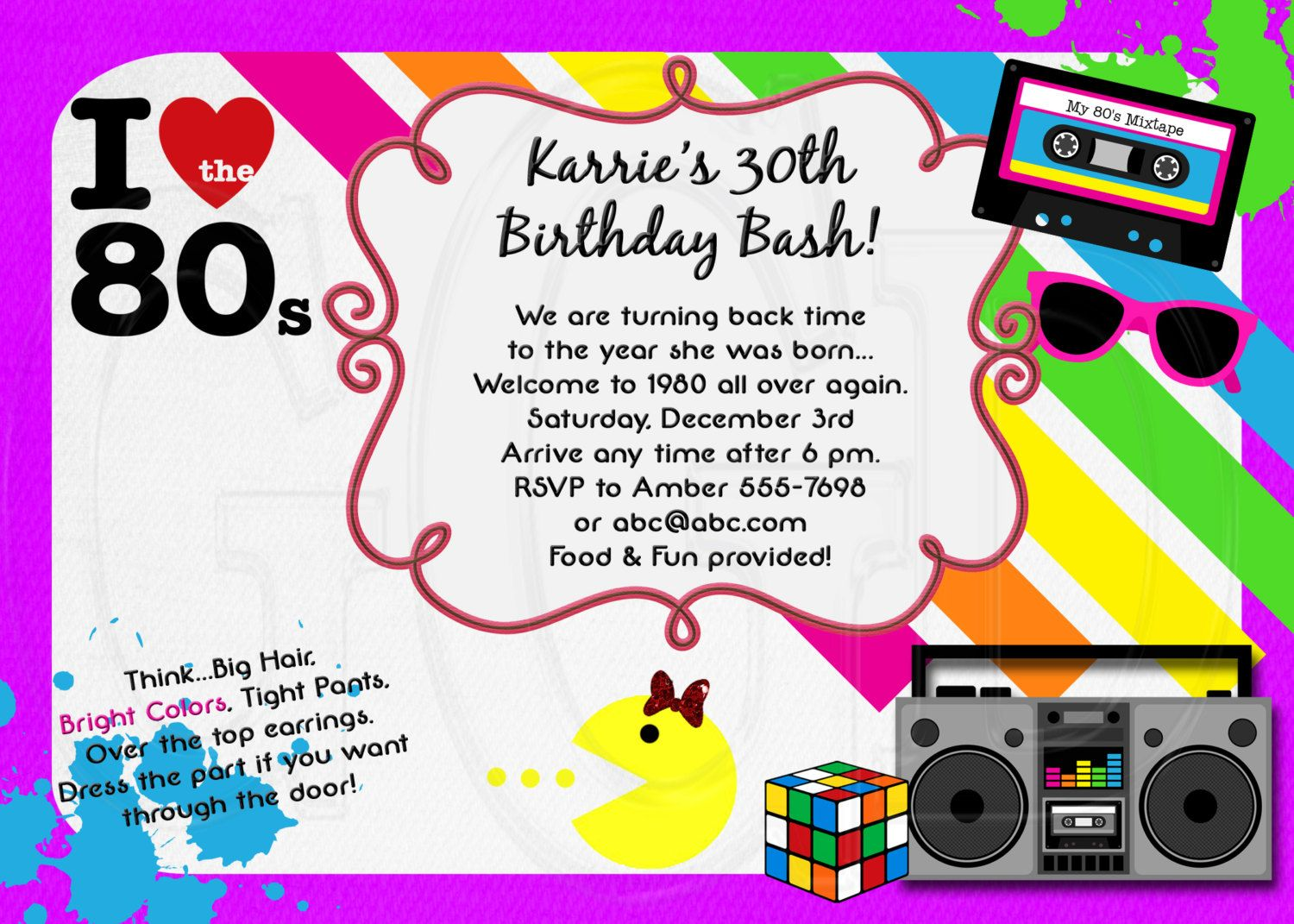 80s Party Invitation print from free online templates – 80s Theme Party Invitations