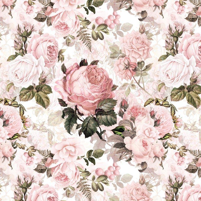 Vintage Blush Victorian Roses Wall mural Vintage