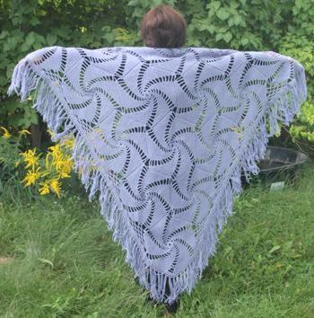 Crocheted hexagonal motif shawl