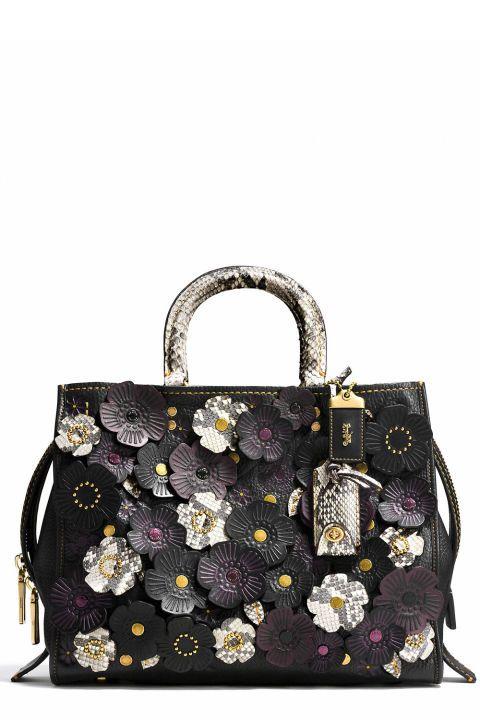 c36174cb2 Black Leather Floral Applique Shoulder Bag, COACH, $1500   Purses ...