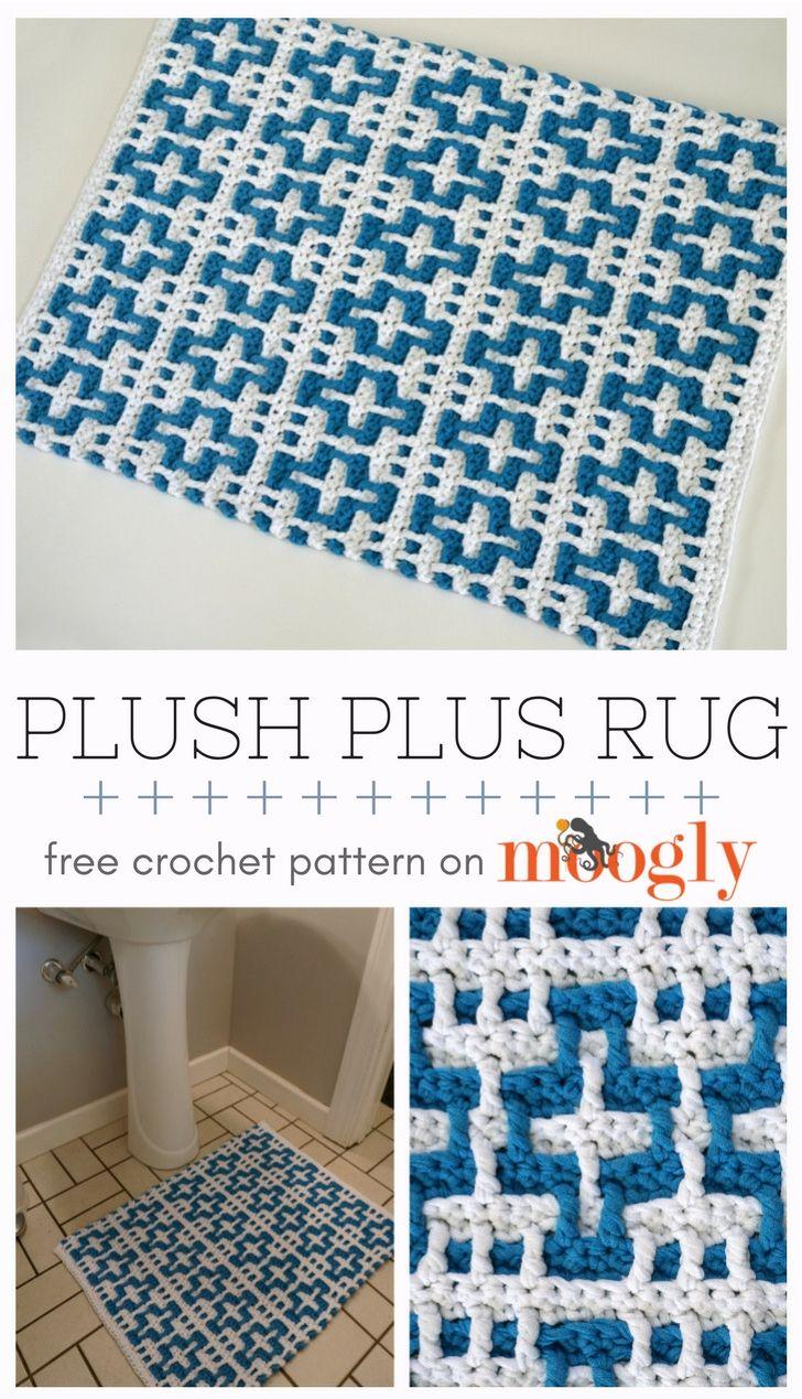Plush Plus Rug | CROCHET | Pinterest | Manta cuadrada, Patrón de ...