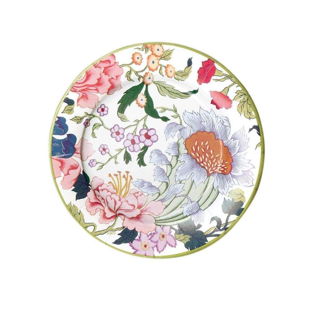Chinese Silk Paper Salad Dessert Plates In Ivory 8 Per Package Floral Melamine Plates Colorful Table Setting