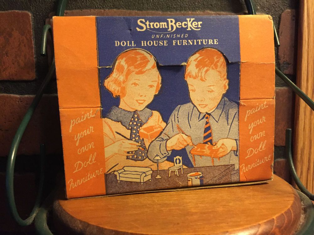 vintage STROMBECKER doll house furniture, Paint Your Own IOB Living Room Suite #Strombecker