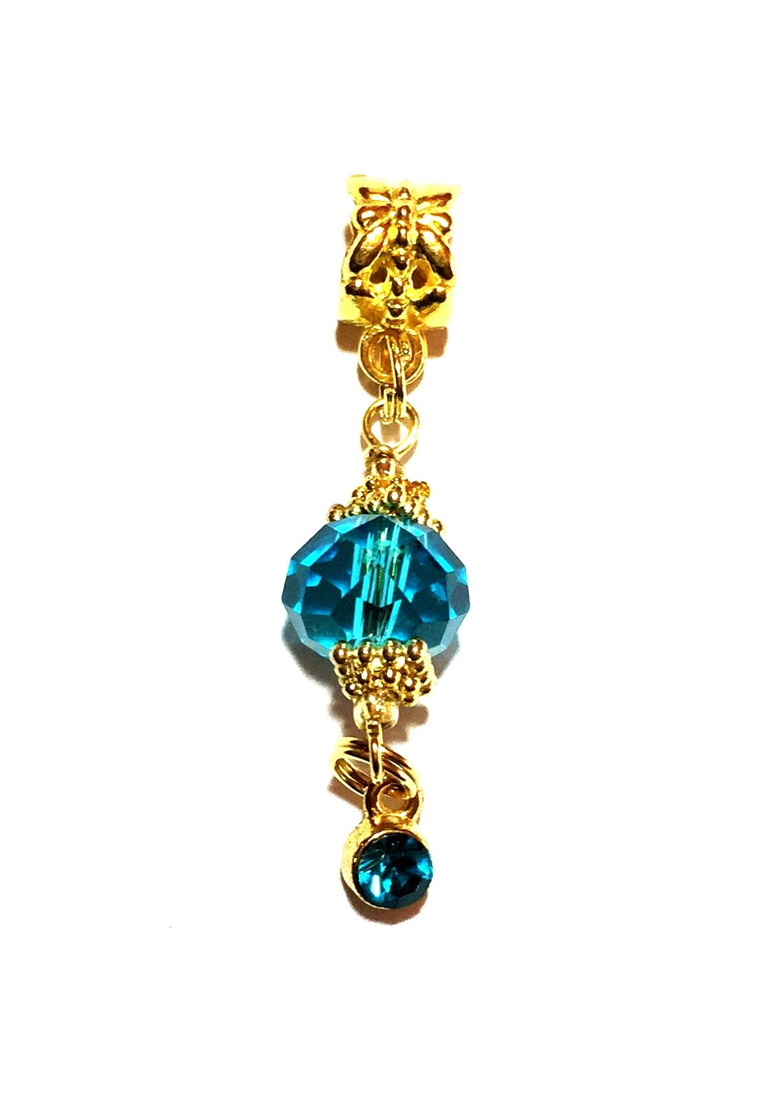 "Cool and magnetic turquoise facet rondelle crystal with matching rhinestone dangle. From the ""Crystal Droplet"" Collection."