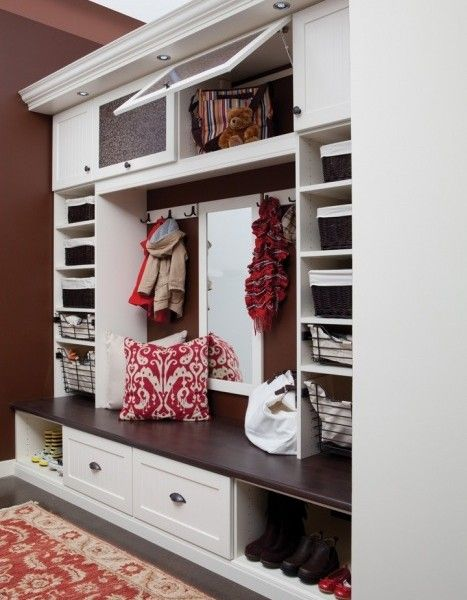 for the hallway....Love the idea of somewhere to sit to put shoes on, somewhere to hang jacket & etc, and somewhere to put shoes!!