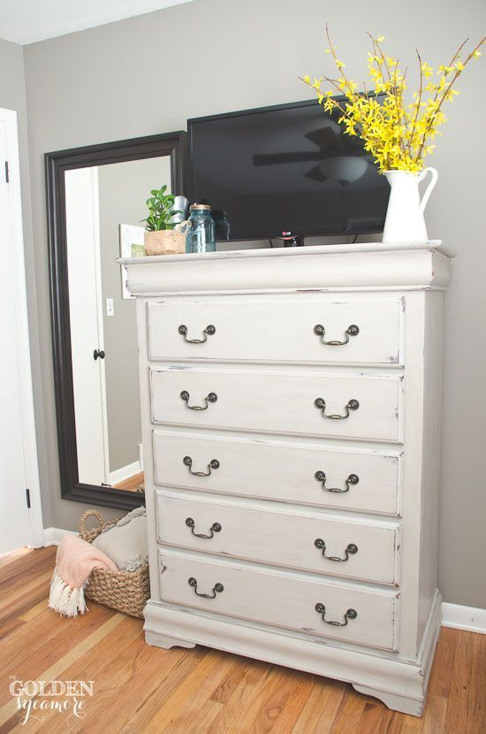 Maison Blanche painted dresser in Cobblestone with white lime wax finish