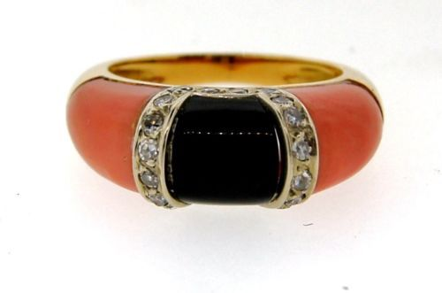 UNIQUE-Piaget-18k-Yellow-Gold-Coral-Onyx-Diamond-Ring-Circa-1970