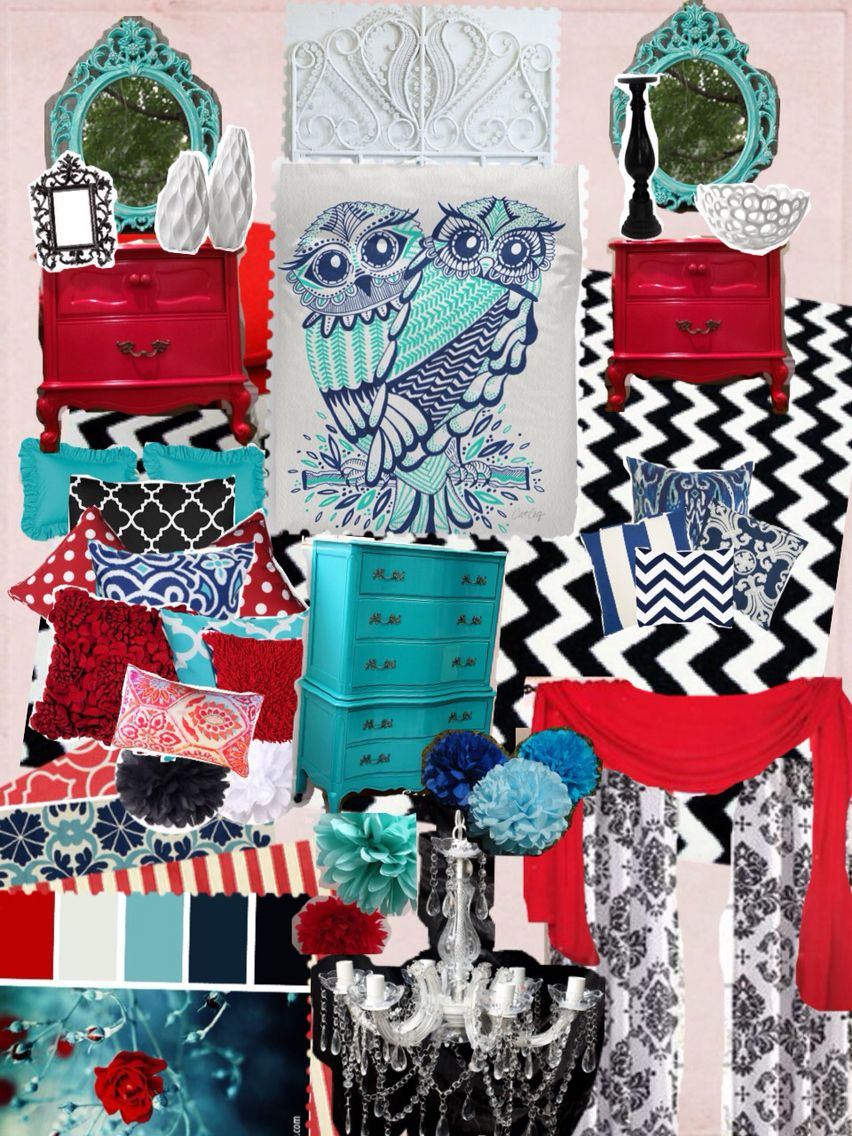inspiring red turquoise living room | Aqua, teal, turquoise, navy blue, red, black and bedroom ...