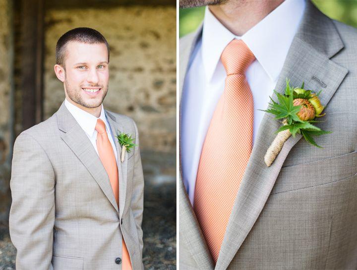 Grey Suit And Orange Tie Rustic Farm Wedding