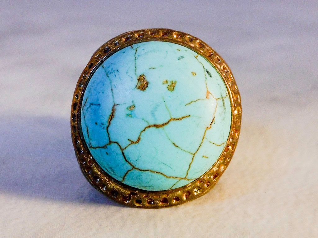 Vintage Copper Turquoise Stretch Ring     Size 7-11    Adjustable   Faux Turquoise by GemstoneCowboy on Etsy