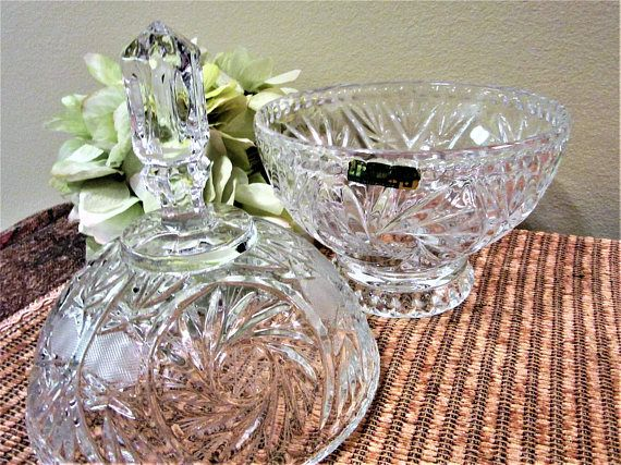 Irena Crystal Dish Candy Lidded 24% Lead Cut Glass Made in