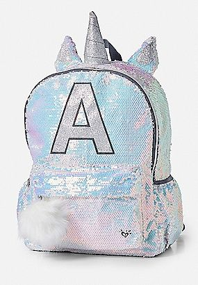 Shimmer Unicorn Initial Backpack  8034032c160a3