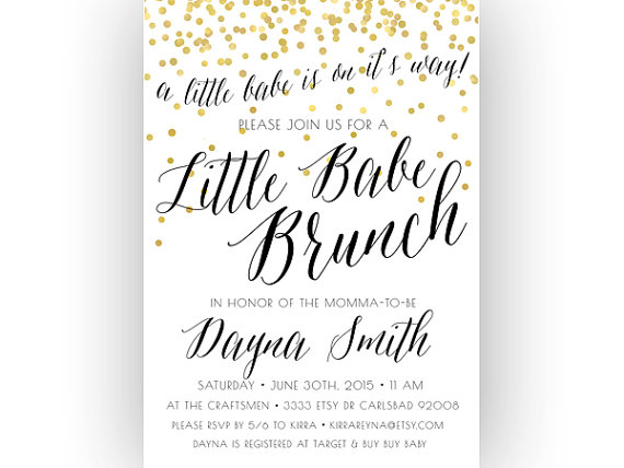 Baby Shower Brunch Invitation Little Unique By Kreynadesigns Etsy