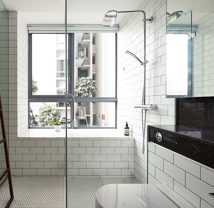 Bathroom Tiles Singapore subway tiles on walls and hexagon floor black and white bathroom