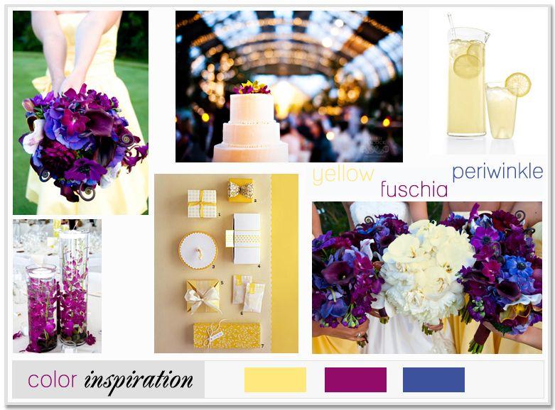 Yellow Fuschia Periwinkle Blue Wedding Style Inspiration Board
