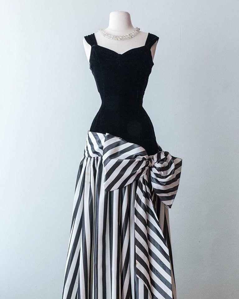 5e3e2b92f8c3 Late 1930's silk velvet fitted bodice with a dramatic striped taffeta skirt.  <3