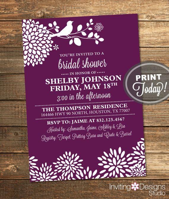 Purple Bridal Shower Invitation Bird by InvitingDesignStudio
