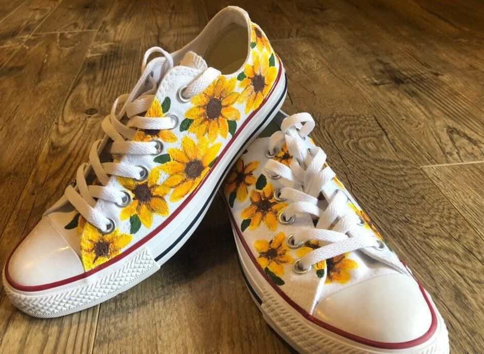 Handpainted Sunflower Converse  Low Top or High Top is part of Converse low tops - This item is available in primary color yellow  Thank you so much for supporting my passion and allowing me to be able to do what I love! Be sure to follow @artbykeyleyshae on Facebook and Instagram! Don't forget I also do lots of custom orders! • Each piece is hand painted which makes each