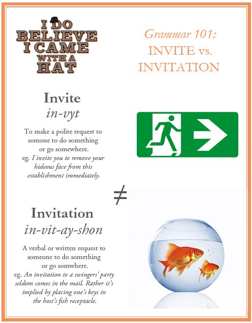 Grammar 101 invite vs invitation from idobelieveicamewithahat grammar 101 invite vs invitation from idobelieveicamewithahat stopboris Images