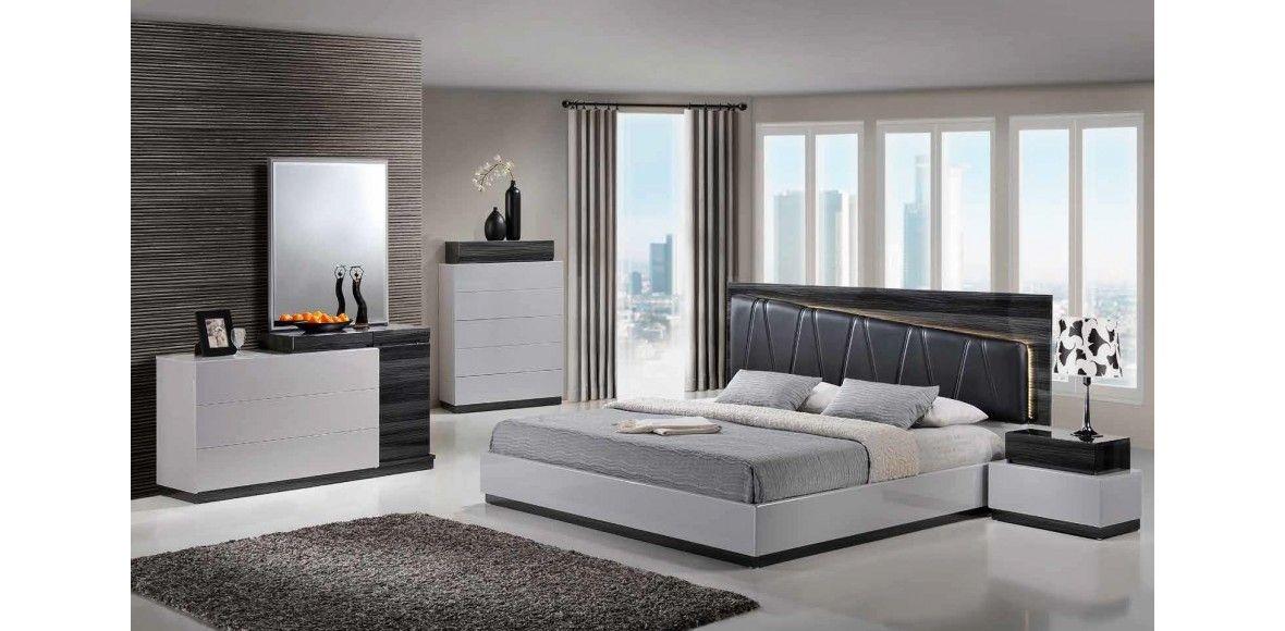 Lexi - S/GR Silver/Grey Bedroom Set 5pc Global Furniture | Pinterest ...