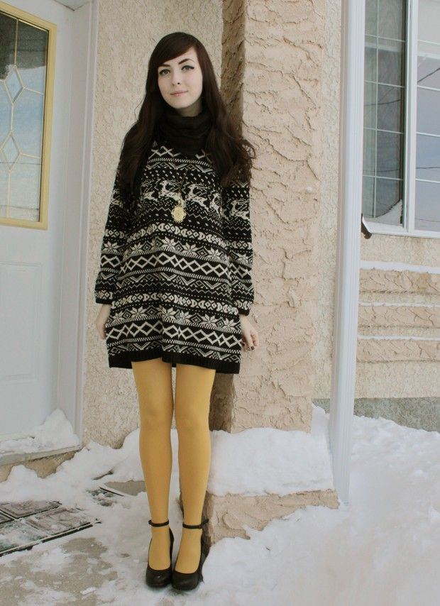 Fair Isle sweater dress with colored tights = adorable | image via ...