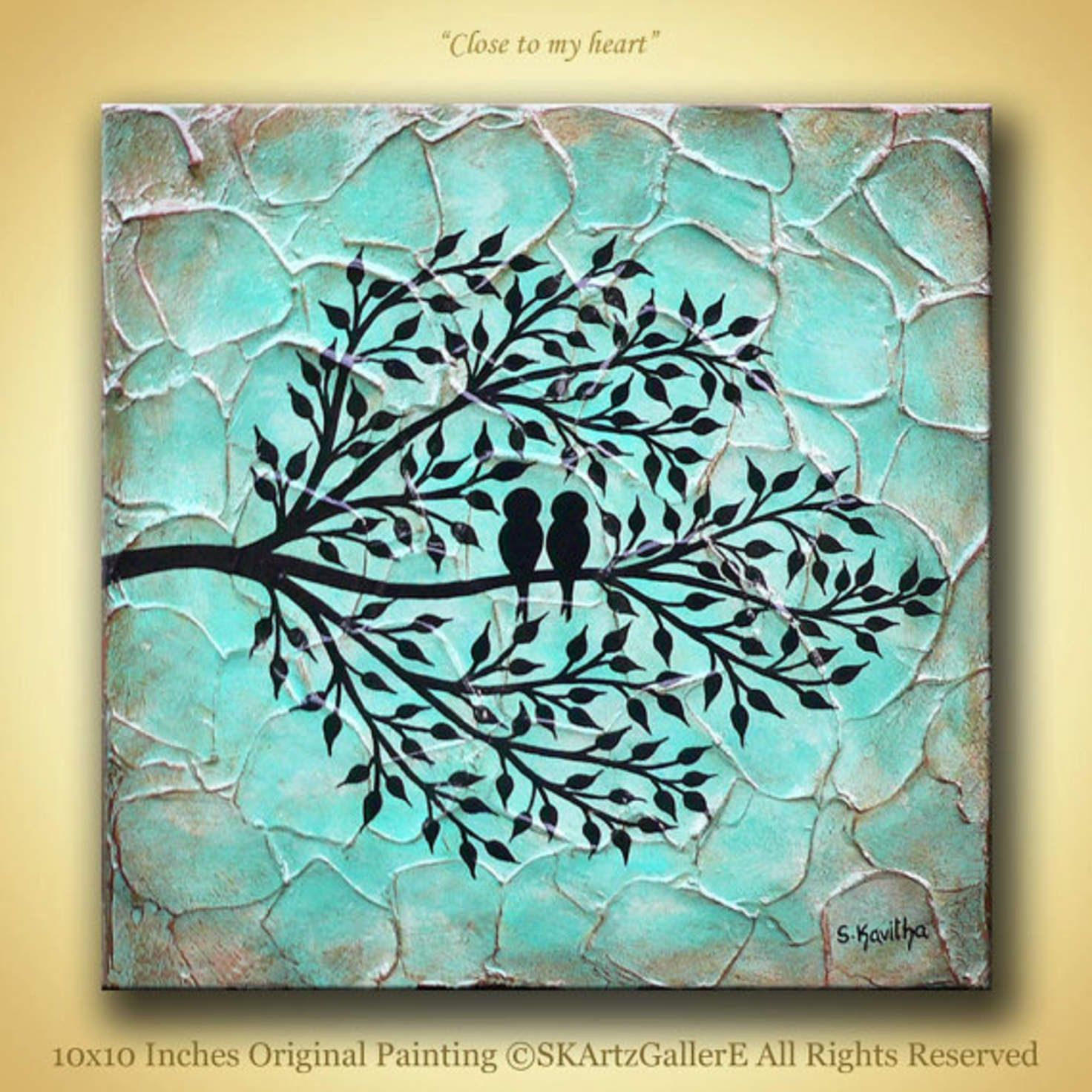 Love Birds On Tree Modern Abstract Heavy Textured Original Acrylic Painting Aqua Teal Blue Brown Canvas Ar Brown Canvas Art Love Birds Painting Canvas Painting