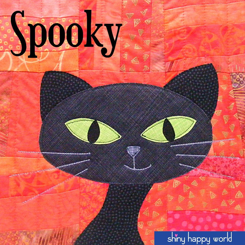 Spooky - a free black cat applique pattern