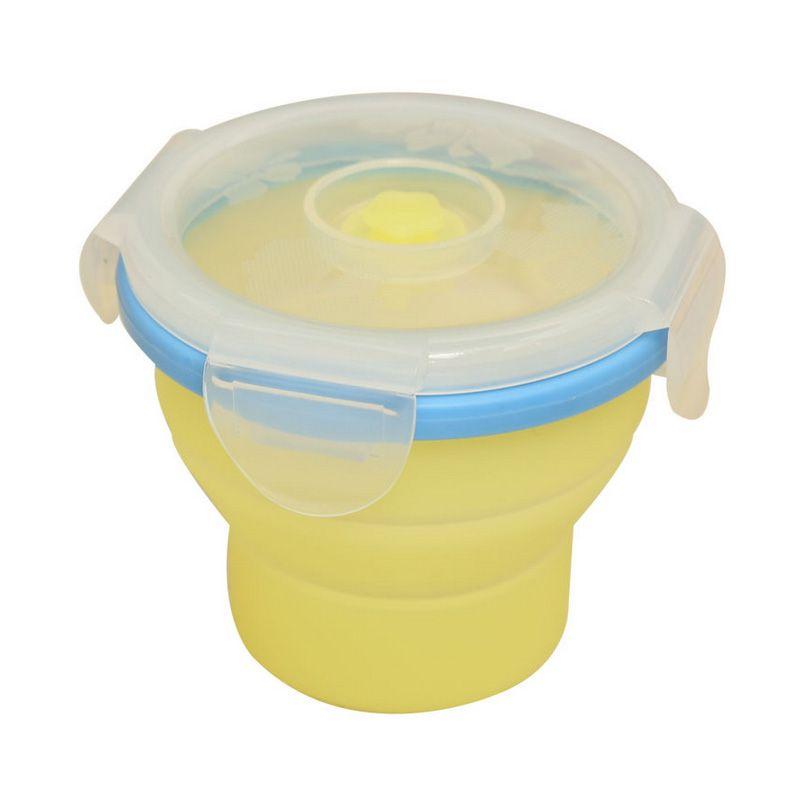 1PCS Silicone Folding Microwave Bento Round Lunchbox Eco friendly
