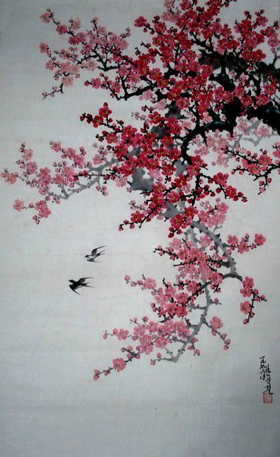 North Korea Red Plum Blossom And Small Birds By Han Myeong Ryeol 1926 Chinese Painting Flowers Cherry Blossom Art Plum Blossom Painting