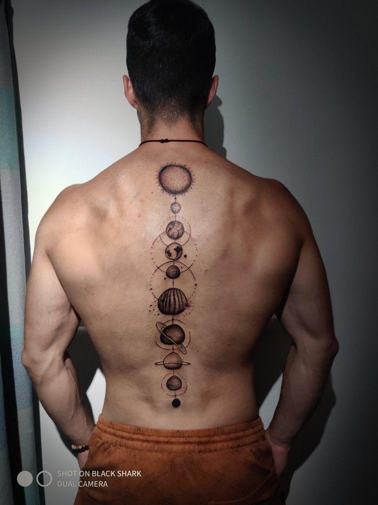 Tattoo Sistema Solar Espalda Tatuajes Abdomen Hombre Tatuajes Espalda Hombre Tatuajes En La Espalda