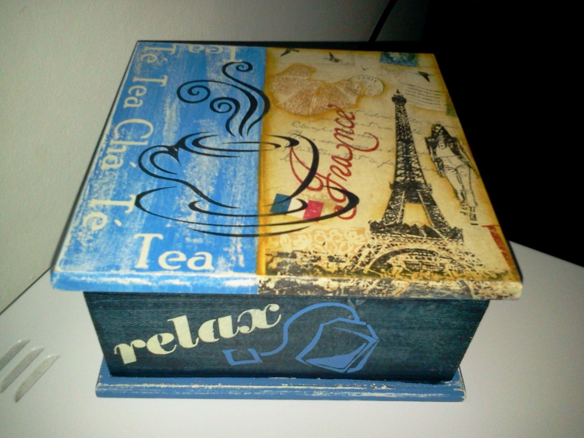 caja de te boites box pinterest peinture d corative serviettes et boite. Black Bedroom Furniture Sets. Home Design Ideas