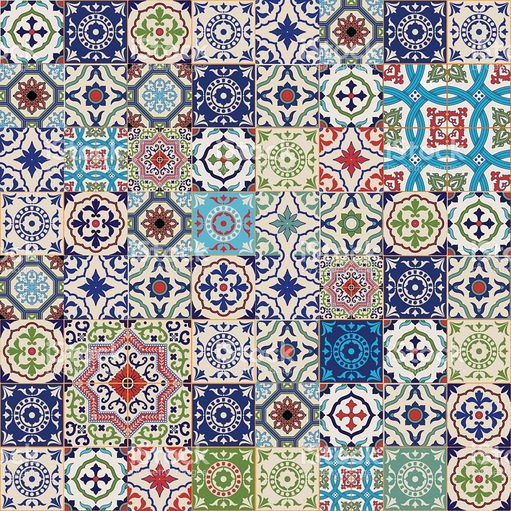 Sch n tapete portugiesische fliesen und beste ideen von mega nahtlose patchwork muster bunte - Tapete auf fliesen ...