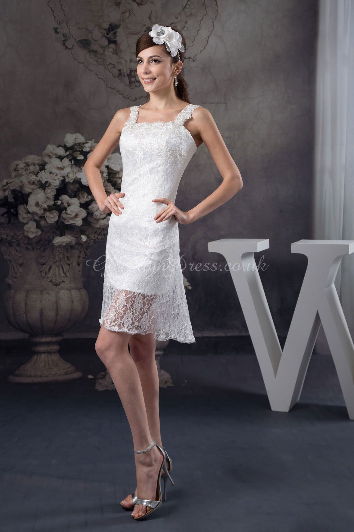 Mini white wedding dress  SheathColumn Lace Straps Natural Waist ShortMini Length Zipper