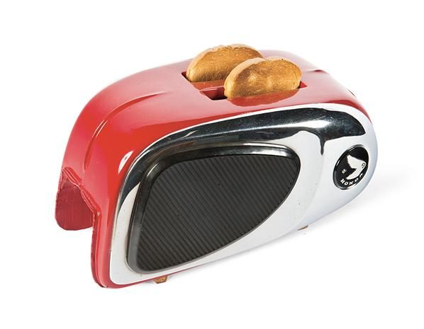 Sunbeam toaster made from an actual Honda motorcycle fuel tank