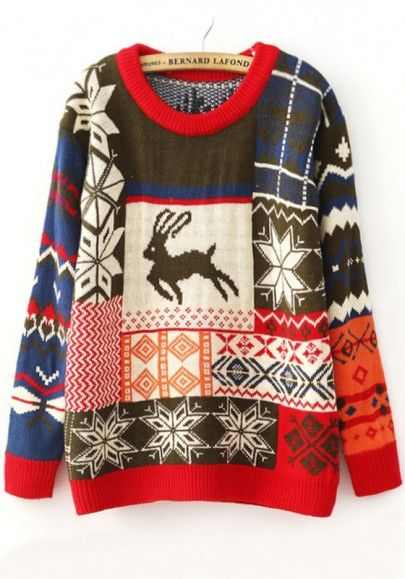 Green Deer Snowflake Fair Isle Print Thick Knit Sweater | Sweater ...