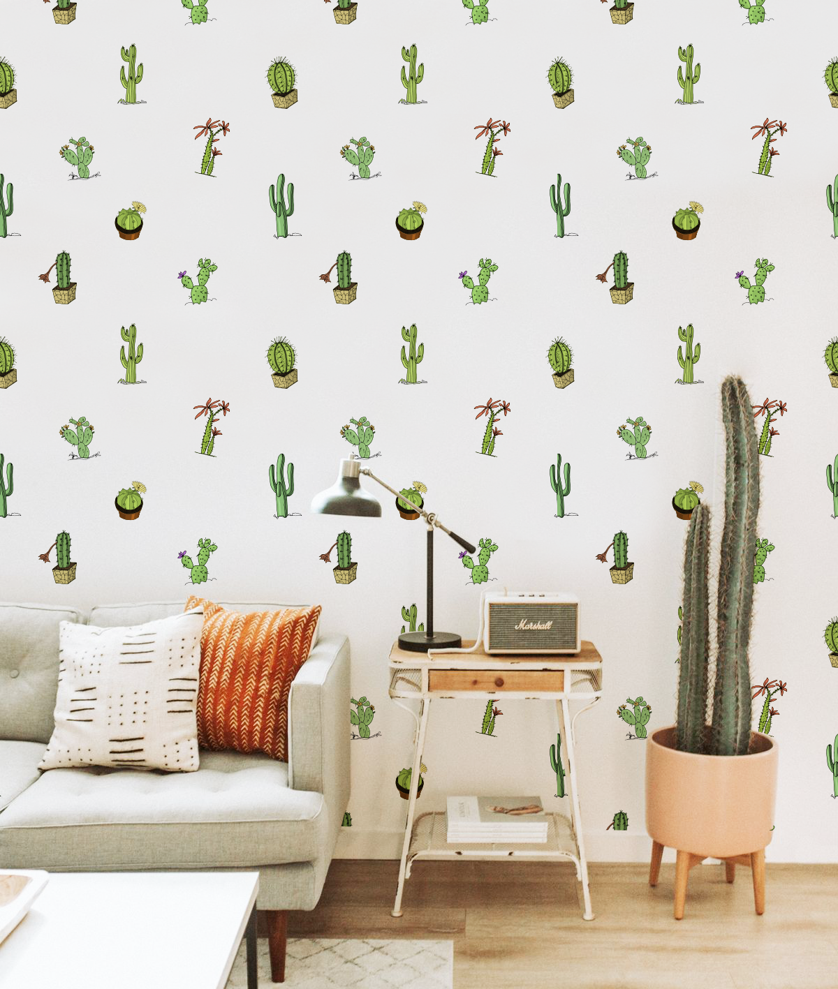 Best Cute Cactis Pots Removable Wallpaper Bedroom Kids Room 400 x 300