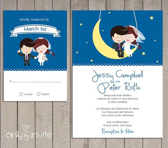 Fly Me To The Moon Funny Wedding Invitation Featuring Cartoon Bride Groom Undangan Pernikahan Kartun Kreatif