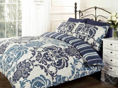 Luxury Damask Duvet Cover Cotton Rich Bedding With Striped Reverse Bed Set Navy Blue Cream Beige Gold King Damask Duvet Covers Blue Bedding Bedding Sets