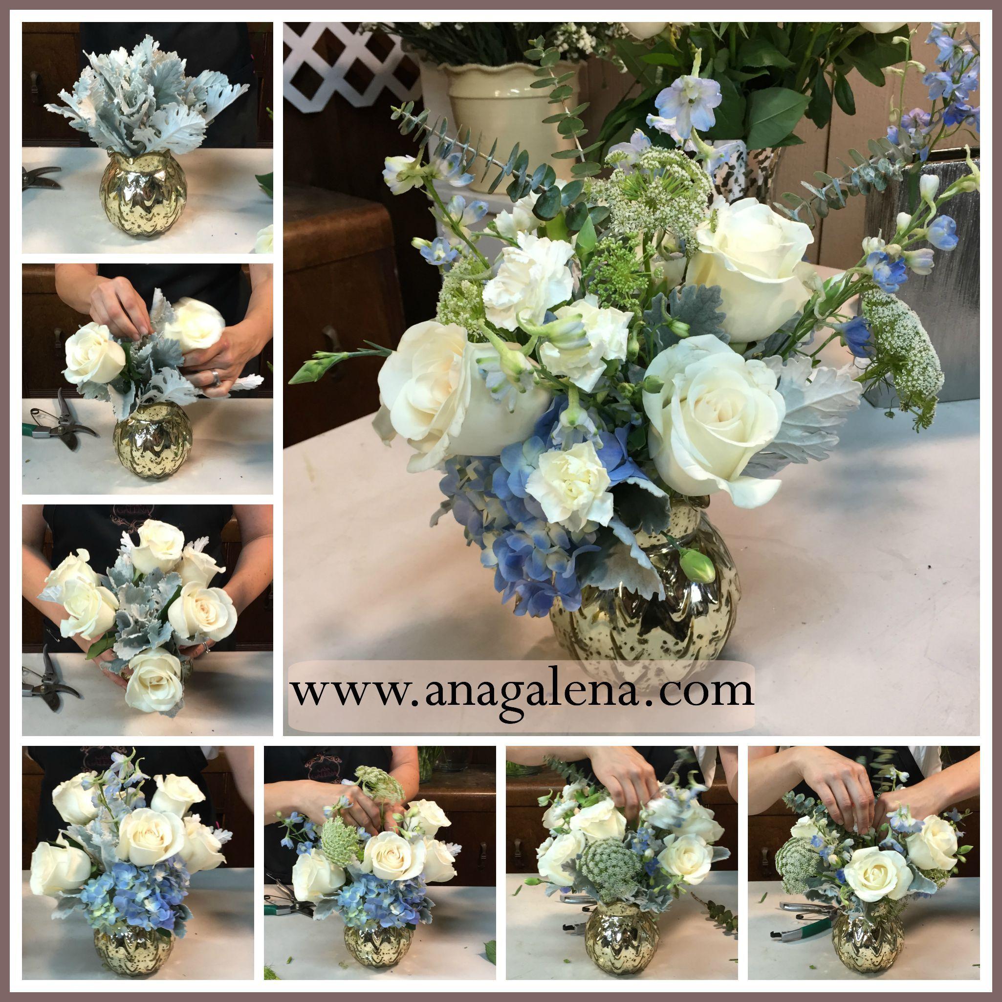paso por paso como hacer un arreglo de flores en vidrio de mercurio con flor azul